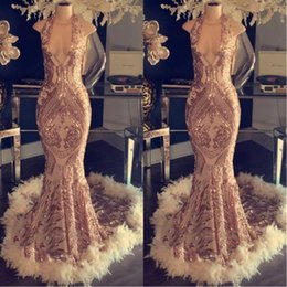 Modern Gold Sleeveless Prom Evening Dresses 2019 Sequins Mermaid Appliqued Feather Party Gown Pageant Dress Plus Size Custom BC1048