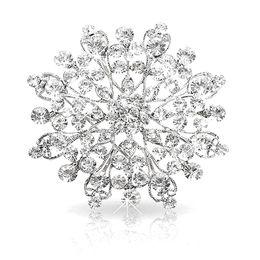 2.3 InchVintage Rhodium Silver Plated Clear Rhinestone Crystal Diamante Wedding Invitation Brooch Jewelry Pins Corsage Women