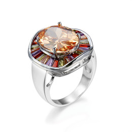 uckyShine New Fashion gemstone jewelry Rainbow colored 925 Silver Cubic Zirconia Prom Party Ring Unisex