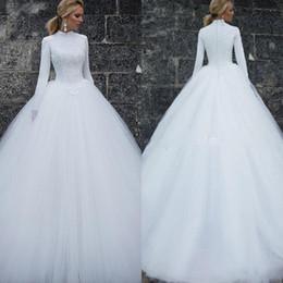 2019 Vintage Muslim Wedding Dresses Long Sleeves High Neck Simple Women Bridal Dresses Custom Made Long Wedding Gowns