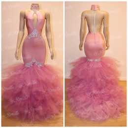 Pink High Neck Mermaid Long Prom Dresses Hollow Out Sleeveless Backless Lace Appliqued Formal Evening Dress with Puffy Organza Skirts Gowns