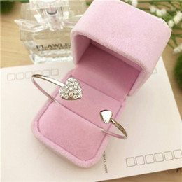 10pcs  lots Hot New Fashion Crystal Double Heart Cuff Opening Bracelet For Women Jewelry Gift Mujer Pulseras C-26