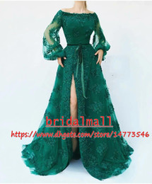 Elegant 2019 Appliqued Tulle Hunter Green African Evening Dresses With Sash Long Sleeve Formal Evening Gowns High Side Split Long Prom Dress