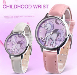 New Unicorn Watch Children Watch Carton Rainbow Kids Girls Leather Band Analog Alloy Quartz WristWatches Relogio Masculino