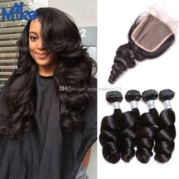 MikeHAIR Brazilian Hair Weaves and Closures 4 Bundles Loose Wave With Lace Closure Peruvian Malaysian Indian Unprocessed Human Hair 5Pcs Lot