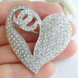 Pretty Love Heart Brooch Pin w Clear Rhinestone Crystals EE04831C1