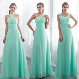 Long Chiffon Convertible Bridesmaids Dresses Royal Blue Mint 2019 Beach Wedding Party Dress robe demoiselle d'honneur 100% Real Photo