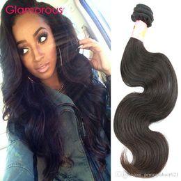 Glamorous Brazilian Body Wave Hair Weaves Natural Color 1 Bundles Virgin Human Hair Princess Queen Malaysian Indian Peruvian Wavy Hair Weave