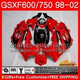 Body For SUZUKI KATANA GSXF 750 600 GSXF600 98 99 00 01 02 2HC.18 GSX750F GSX600F GSXF750 1998 1999 2000 2001 2002 Factory red Fairing kit