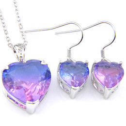 Luckyshine Wedding Jewelry Sets Unique Bi Colored Tourmaline Heart Crystal Zircon Silver Chain Earring Pendants Necklace Jewelry Sets