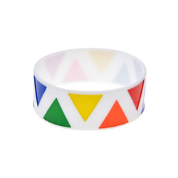 Wholesale 50PCS Lot Rainbow Colored Triangle Logo Silicone Rubber Wristband 1 Inch Wide Gay Pride Bracelet