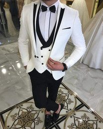 Latest White Suits for Wedding Tuxedos Groom Wear Black Peaked Lapel Groomsmen Outfit Man Blazers 3Piece trajes de hombre Costume Homme