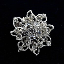 1.3 Inch Sparkly Silver Tone Full Clear Rhinestone Crystal Diamante Small Flower Brooches Pin Women Clothing Decoration