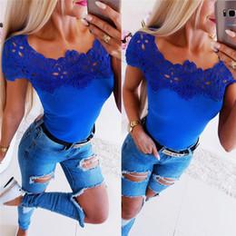 Cute Blue Women T Shirts Top Tees Fashion Women Short Sleeve Lace Summer Slim Top Clothing ZC3204