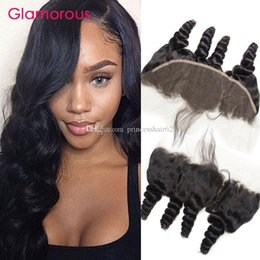 Glamorous Brazilian Virgin Human Hair Loose Wave Lace Frontal Wavy Hair 13x4 Ear to Ear Lace Closures Malaysian Indian Peruvian Hair Frontal