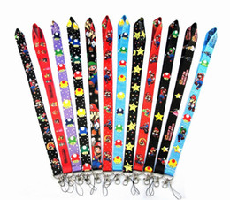 Hot 20pcs new Super Mario Black LANYARD mobile phone chain KEYS ID card Neck straps