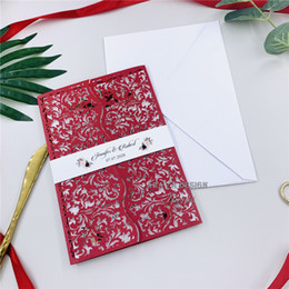 Elegant Red Laser Cut Wedding Invitations With Customized Belly Band And Insert, Hollow Out Wedding Invite