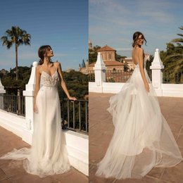 Berta 2019 Wedding Dresses Beach Boho Sexy Spaghetti Straps Backless Lace Bridal Gowns Detachable Train Wedding Dress Vestido De Novia