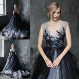 Impressive A-line Scoop Black Wedding Dresses 2020 Gothic Lace Appliques Tulle Gypsy Bridal Dress robes de mariee Plus Size Wedding Gowns