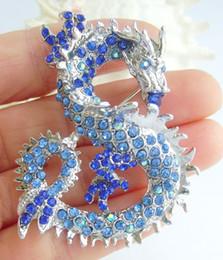 Holy Chinese Dragon Brooch Pin W Blue Rhinestone Crystals EE02980C7