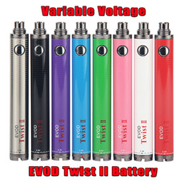 E Cigarettes Evod 2 Twist II 1600mAh eGo Vape Battery VV Variable Voltage Vaporizer Pen fit 510 Thread MT3 CE4 CE5 Atomizer