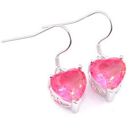 Wholesale 5 Pair Lot Women Jewelry Bi Colored Tourmaline Crystal Zircon Earring 925 silver Pink Heart Dangle Earring Wedding Jewelry New
