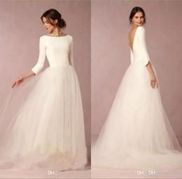 Elegant 3 4 Long Sleeves Tulle A Line Wedding Dresses Satin Top Backless Floor Length Simple Wedding Bridal Gowns BA7865