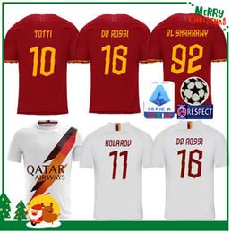 19 20 ROME home away soccer TOTTI ROMA DZEKO Sports DE ROSSI Jersey 2019 2020 EL SHAARAWY Adult man kids boy kit Long sleeve Football shirt