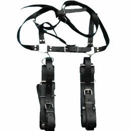 Fetish Leather Wrist Leg Restraints Bondage Sexy Open Thigh Harness Handcuff Toy #E593