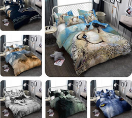 sheets comforters Coupons - 3D Wolf Printed Bedding Set Wolf Pattern Bed Clothes Comforter Cover Bed Sheet Sets Pillowcase Polyester