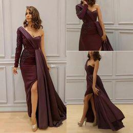 One Shoulder Long Sleeve Arabic Evening Dresses Wear Satin Sheath Appliques Beads Split Side Dubai Formal Party Prom Gowns Zuhair Murad