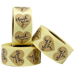 1.2inch 1000pcs Thank you kraft paper adhesive sticker label heart shape self adhesive label for package box seal sticker