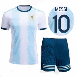 2019 2020 Argentina Soccer Jersey Shorts Home Blue White Soccer Kit MESSI DYBALA DI MARIA Higuain Football Set Adult Sports Uniforms