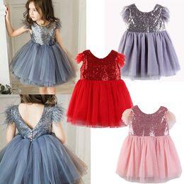Retail kids designer girls dresses Sequins Mesh Vest Dress Kids Topmaker Backless A-line Ruffle Pleated Patchwork Princess Dress Clothing