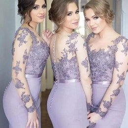 2019 Lilac Bridesmaid Dresses Mermaid Sheer Neck Long Sleeves Sweep Train Maid Of Honor Gowns With Lace Applique Illusion Back Formal Dress