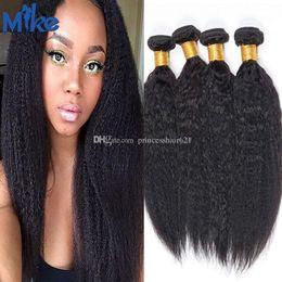 MikeHAIR 4 Bundles Brazilian Hair Kinky Straight Raw Natural Human Hair 8-30In Unprocessed Peruvian Indian Malaysian Human Hair Can Be Dyed