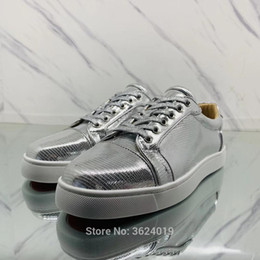 Low cut shoe cl andgz Silver Mirror Snake Lace up Rivets Fashion Party Red  bottoms shoes For Man Sneakers leather Loafers casual d06f97ee1ad8
