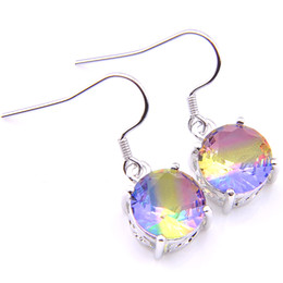 6 Pairs Luckyshine Holiday gift Colored Bi-Color Tourmalin Gems 925 Sterling Silver Plated Handmade Silver Jewelry Earring For Lady Women