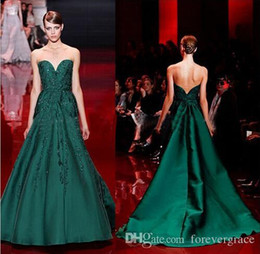 Elie Saab 2019 Evening Dress High Quality Emerald Green Sweetheart Applique Long Women Wear Prom Party Dress Formal Event Gown