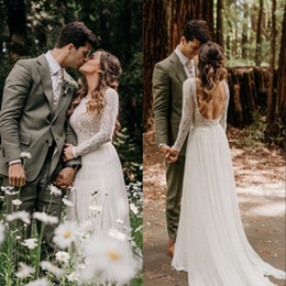 Bohemian Simple Wedding Dresses Sexy Backless Long Sleeves Sweep Train Country Boho Bridal Gowns Custom Made