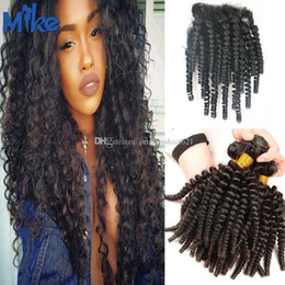 MikeHAIR Brazilian Kinky Curly Hair with Closure Cambodian Indian Mongolian Hair Lace Closure with 4 Bundles Human Hair Weaves 5Pcs lot