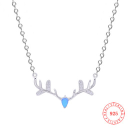 Fashion Christmas Elk Antler Necklace Flower Deer Horn Animal Pendant 925 Sterling Silver necklace blue glass stone Christmas Jewelry
