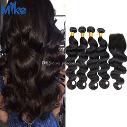 MikeHAIR Brazilian Hair Bundles with Closure 4 Pieces Body Wave Human Hair Extensions Peruvian Indian Hair Weaves With Lace Closure 5Pcs lot