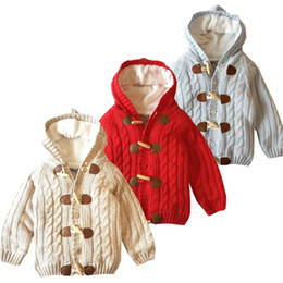 Retail kids designer winter coats thick plus velvet boys girls sweater Hooded coat Bullhorn buckle jackets Outwear children clothing