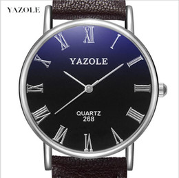 YAZOLE 268 Brand New Brown Men Watch Fashion Faux Leather Mens Roman Numerals Quartz Analog Watch Casual Male Business Watches