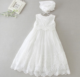 Long style kids wedding dress Newborn High Quality 0-2yrs 2pcs set Girl Baptism Dress Christening Gown Baby Girls' party Infant Princess