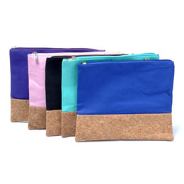 Canvas Cosmetic Bag Wholsesale Blanks Canvas with Cork Material Make Up Bag Accessories Bag in 5 Colors DOM106368