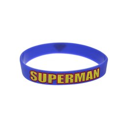 Wholesale 100PCS Lot Ink Filled Logo Superman Silicone Wristband For Animation Fans Gift Bracelet Adult Size