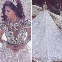 2019 Luxury Said Mhamad Wedding Dresses Lace Long Sleeve Crystals A Line Wedding Dress Royal Train Formal Women Bridal Gown Brautkleid