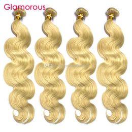 Glamorous Brazilian Straight Human Hair Bundles #613 Bleach Body Wave Human Hair Extensions Peruvian Indian Malaysian Blonde Hair Weave 4Pcs